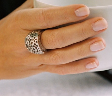 Dome Ring in 18k white gold