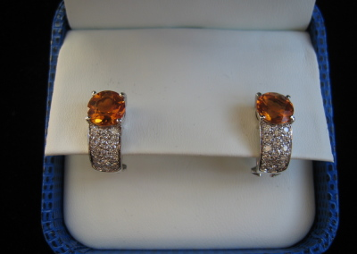 Elle Earrings in 18k white gold with madeira citrines and diamonds